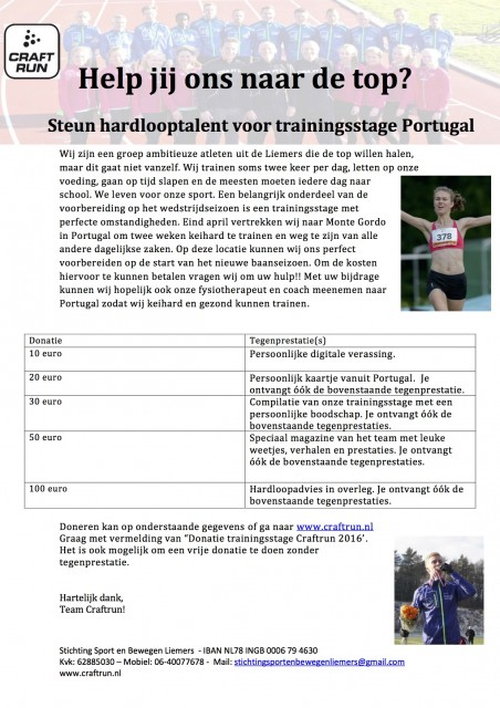 Steun hardlooptalent: Help team Craftrun naar Portugal